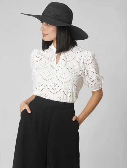 White Cut Work Detail Top