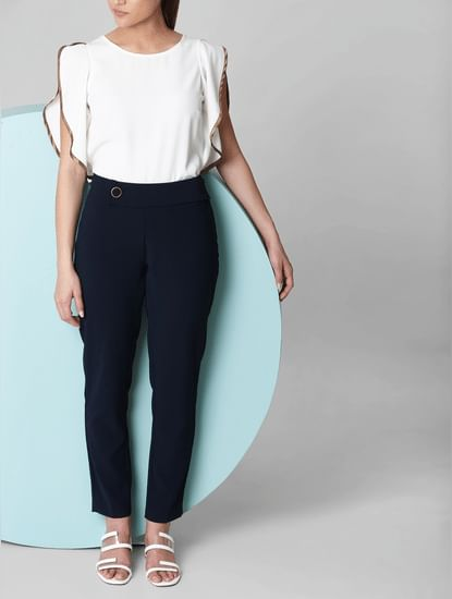 Navy Blue Mid Rise Trousers