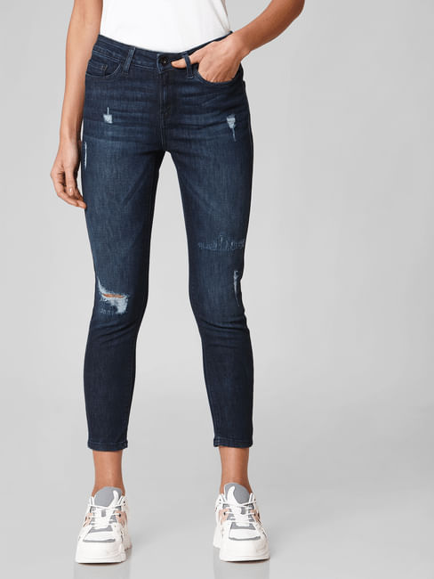 Blue Mid Rise Distressed Skinny Jeans