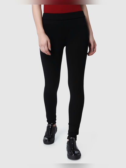 Black Mid Rise Tape Detail Leggings