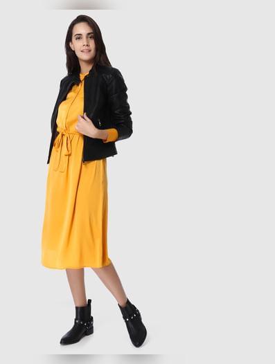 Yellow Belted Shirt Dress