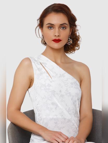White Printed One Shoulder Dress