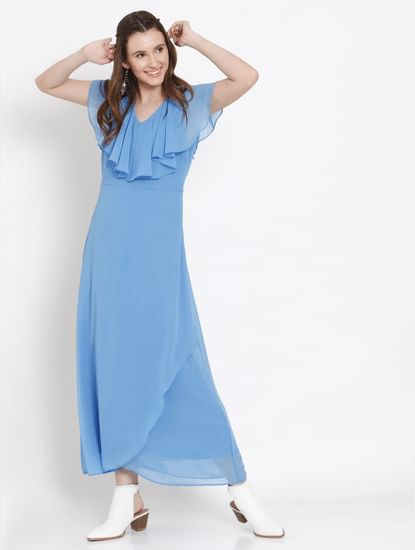 Blue Ruffle Neck Maxi Dress