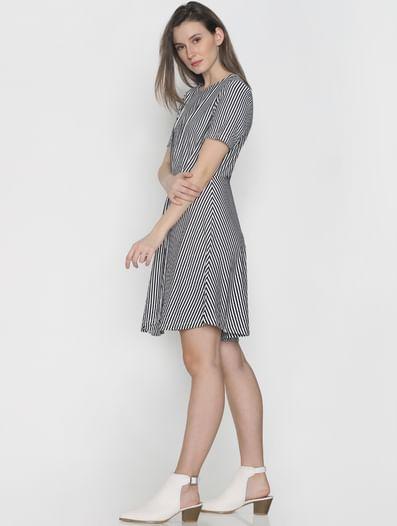 Navy Blue Striped Skater Dress