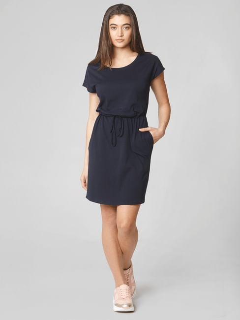 Navy Blue Drawstring Waist Shift Dress