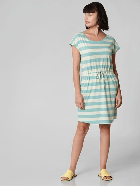 Green Striped Drawstring Waist Shift Dress