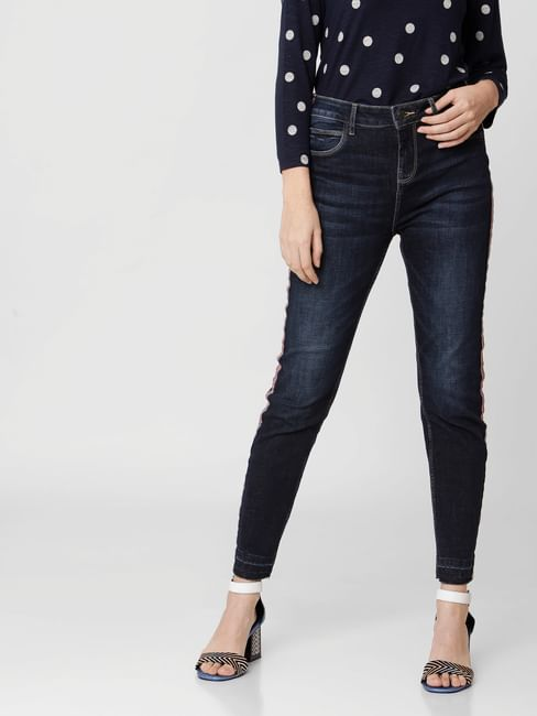 Blue High Rise Tape Detail Skinny Jeans