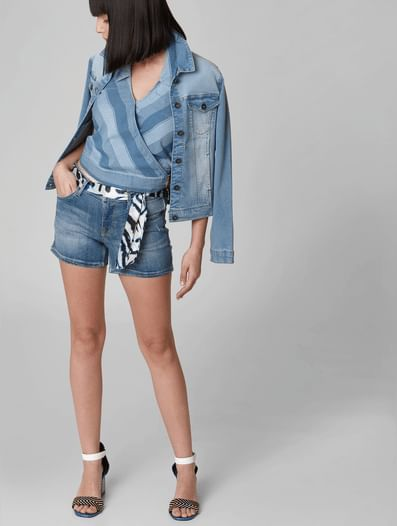 Blue Low Rise Satin Belt Denim Shorts