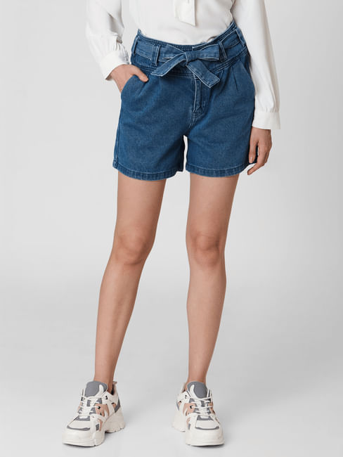 Blue High Rise Belted Denim Shorts