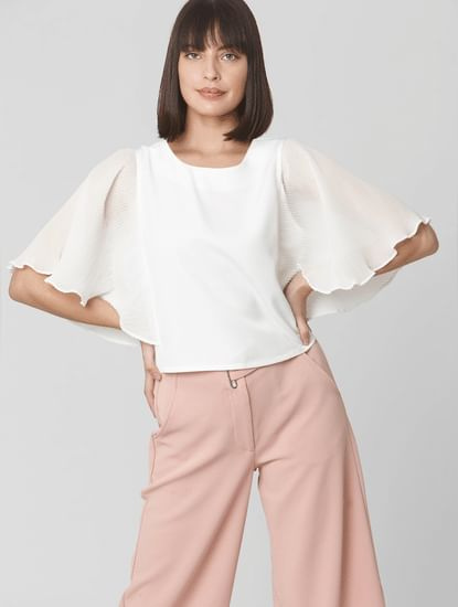 White Pleated Batwing Sleeve Top