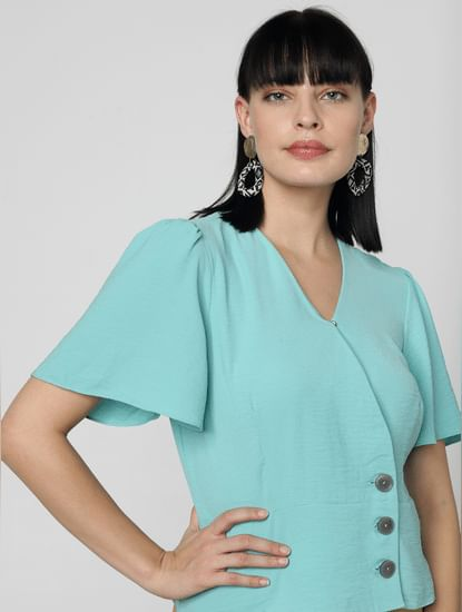 Sea Green Buttoned Top