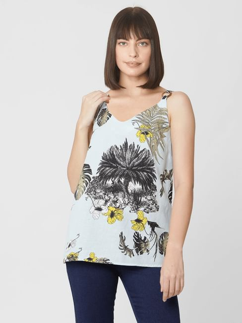 Blue Tropical Print Strappy Top