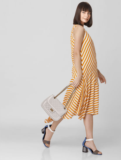 Orange Striped Asymmetric Midi Dress