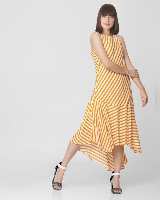 Orange Striped Asymmetric Midi Dress