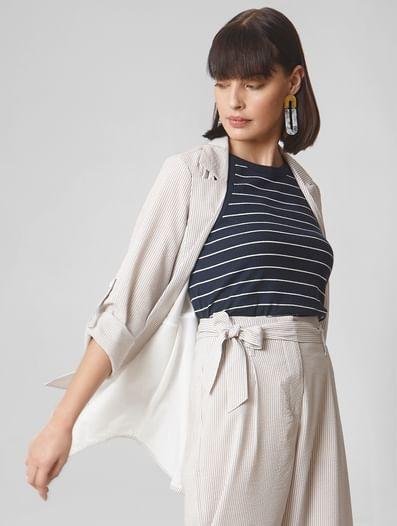 Beige Striped Soft Casual Jacket
