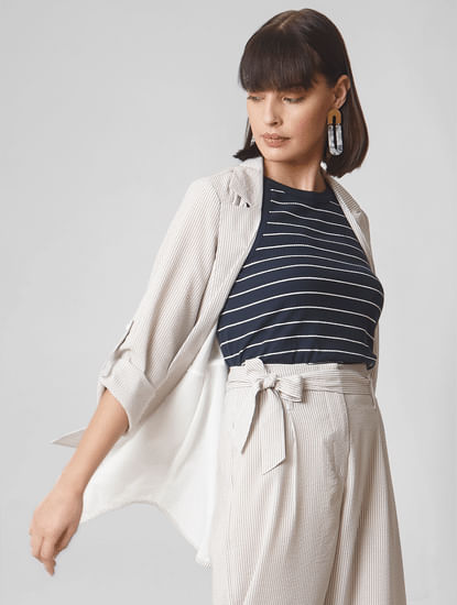 Beige Striped Soft Casual Jacket