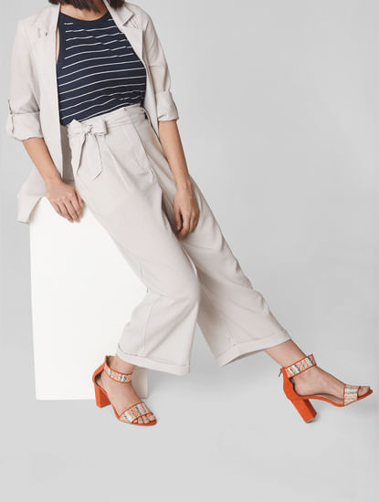 Beige Mid Rise Striped Wide Leg Pants