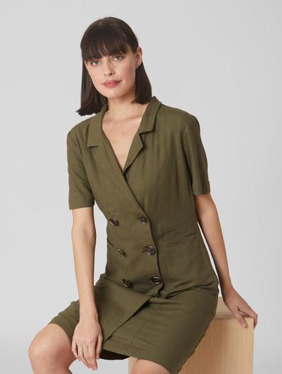 Olive Coat-Styled Shirt Dress