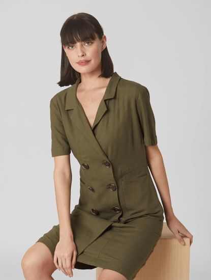 Olive Coat-Styled Shirt Dress