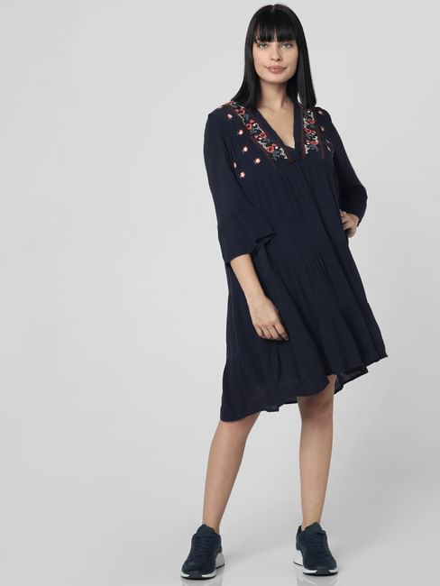 Navy Blue Embroidered Tiered Shift Dress