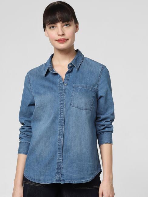Blue Washed Denim Shirt