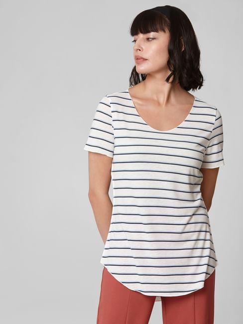 White Curved Hem Striped T-shirt