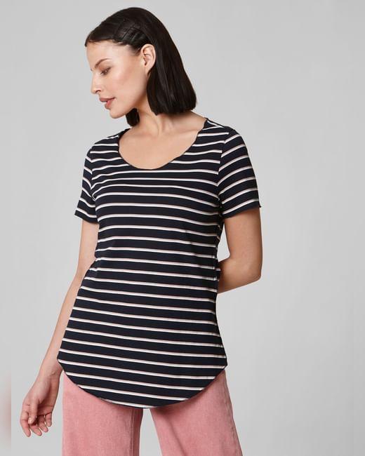 Blue Curved Hem Striped T-shirt