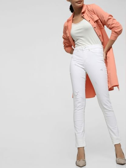White Mid Rise Distressed Skinny Jeans