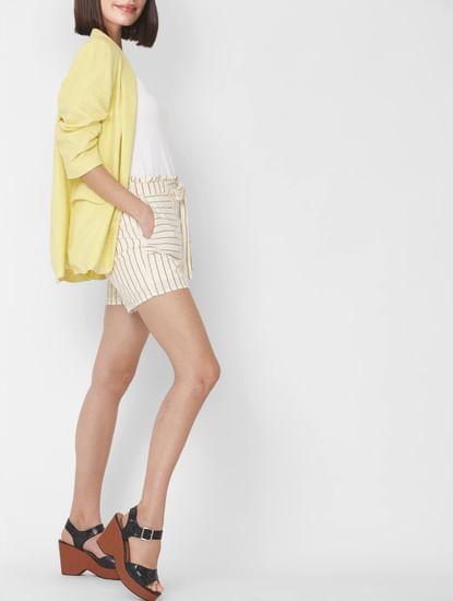 Beige High Rise Striped Shorts