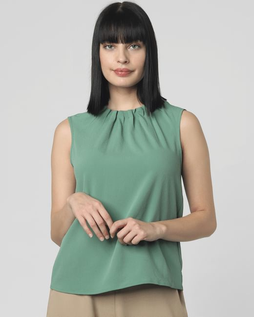 Green Gathered Neck Detail Top