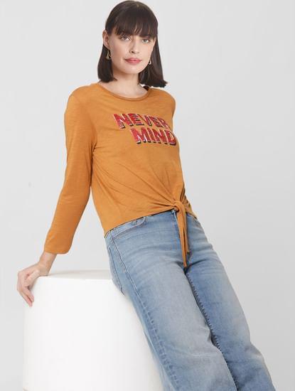 Brown Sequin Print T-shirt