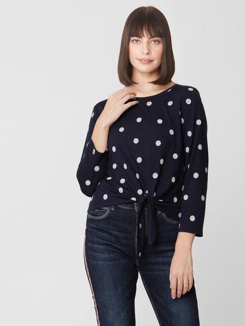Navy Blue Polka Dot T-shirt