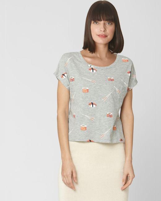 Grey Sushi Print T-shirt
