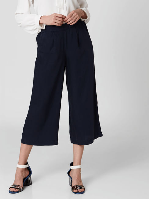 Navy Blue Mid Rise Culottes