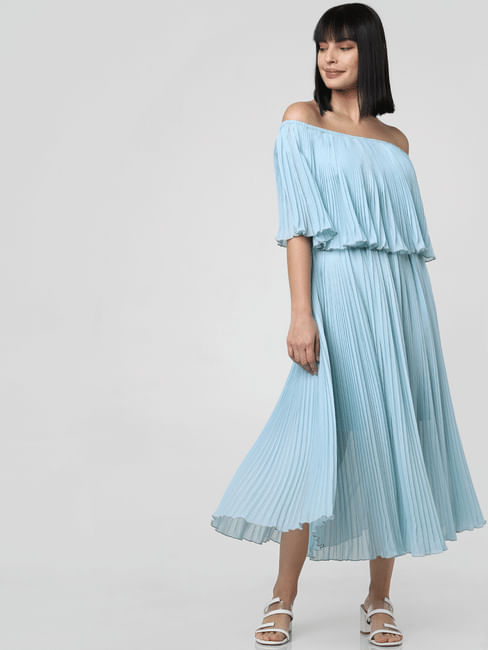 Blue Pleated Off-Shoulder Midi Dress