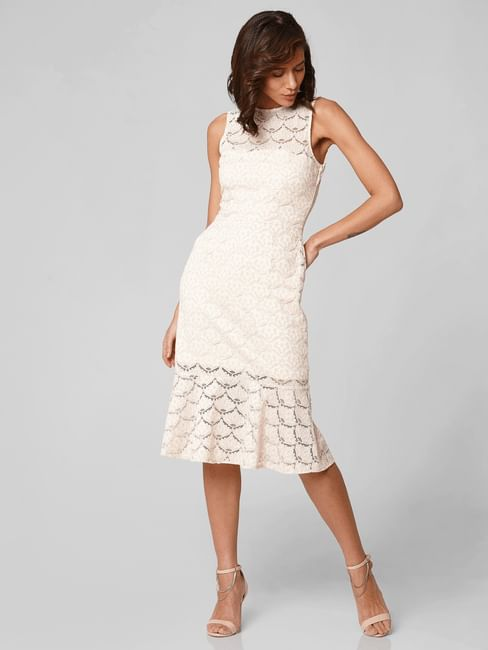 Off-White Lace Flounce Hem Midi Dress