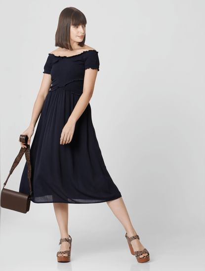 Navy Blue Smocked Off-Shoulder Midi Dress
