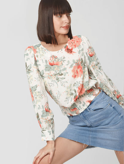 White Floral Print Smocked Waist Top