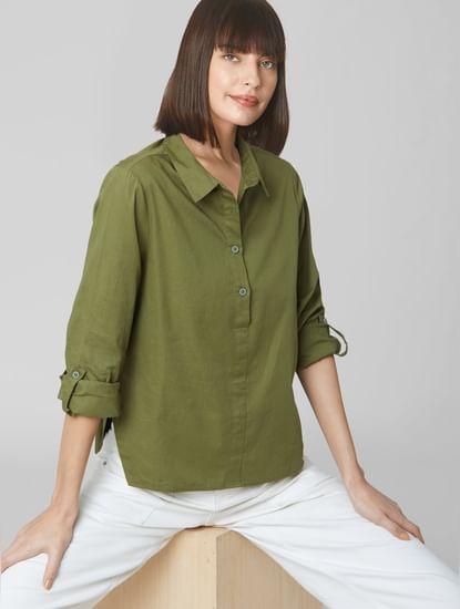 Olive High-Low Hem Shirt
