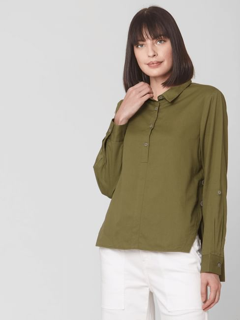 Olive High-Low Hem Shirt