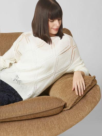 White Self-Design Sweater