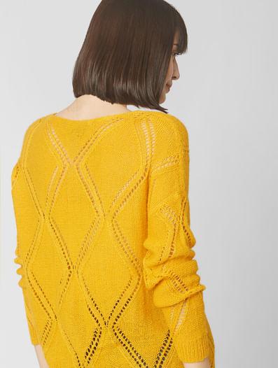 Orange Self-Design Sweater