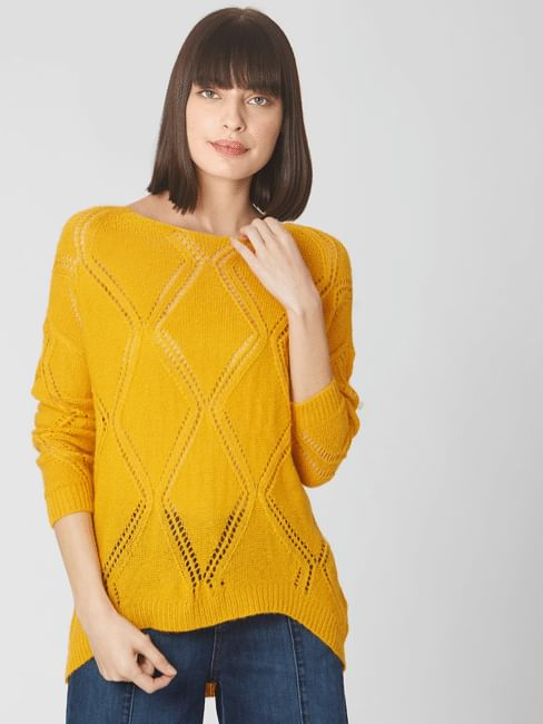 Orange Self-Design Sweater