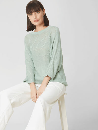Pale Green Textured Sweater