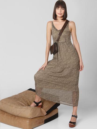 Beige Animal Print Maxi Dress