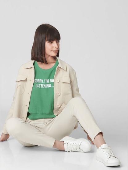 Green Cropped Text Print Sweatshirt
