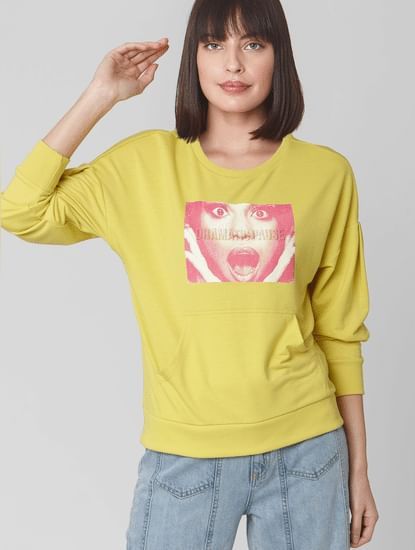 Green Graphic Print Sweatshirt