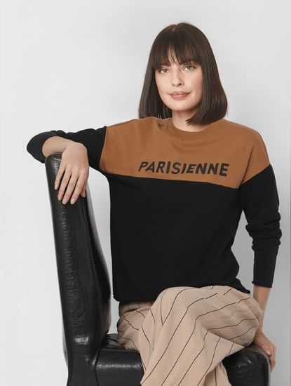 Black Text Print Colourblocked Sweatshirt