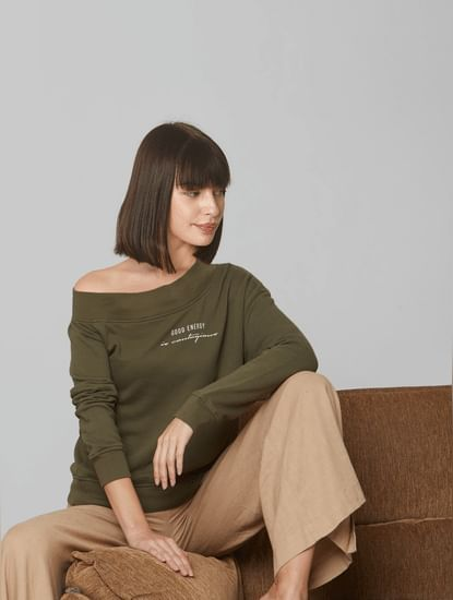 Olive Printed One Shoulder Sweatshirt