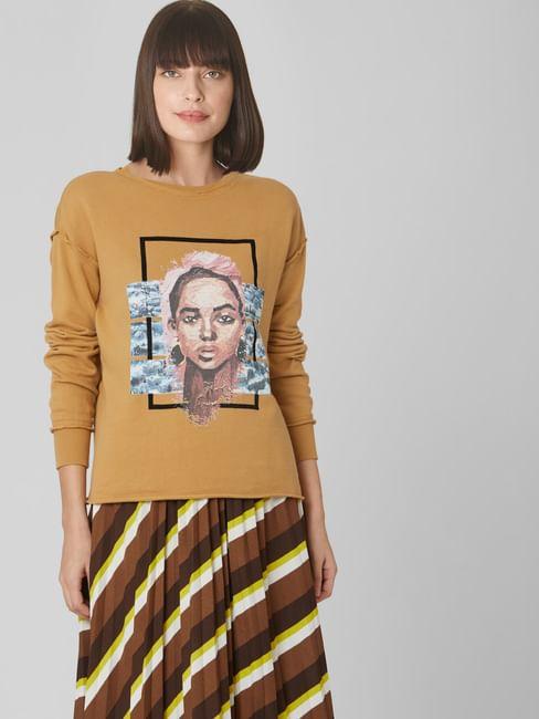 Brown Graphic Print Raw Edge Sweatshirt